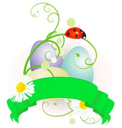 Easter eggs and scroll vector