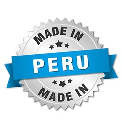 Made in peru silver badge with blue ribbon vector