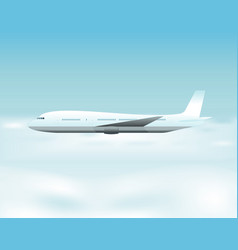 Airplane flying above the clouds vector
