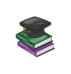 back to school book graduation cap concept vector image vector image