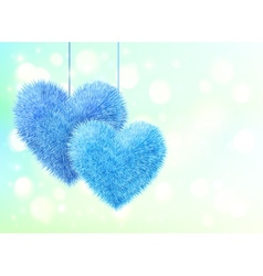 Blue fluffy hearts pair greeting card horizontal vector image