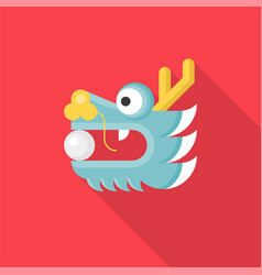 Chinese dragon head with ball or pearl in mouth vector