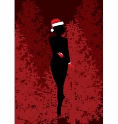 Christmas girl silhouette vector image vector image