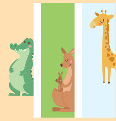 Cute zoo cartoon animals cards funny wildlife vector
