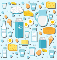 Dairy products seamless pattern with milk cheese vector