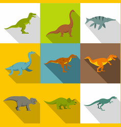 dinosaur icon set flat style vector image vector image