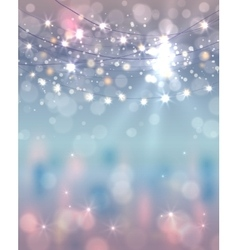 Festive light background with bokeh and stars vector image vector image