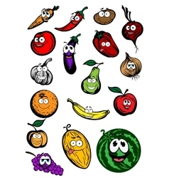 Funny cartoon fruits and vegetables characters vector image
