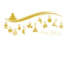 Gold Christmas wave border with hanging vector image