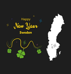 Happy new year theme with map of sweden vector