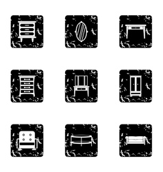 Home furniture icons set grunge style vector