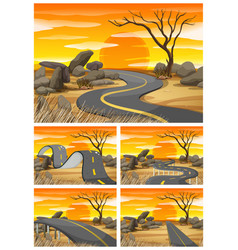 savanna field at sunset with empty roads vector image vector image