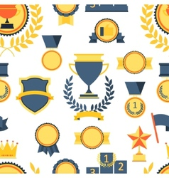 Seamless pattern with trophy and awards vector image vector image