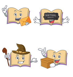 Set of open book character with envelope virtual vector