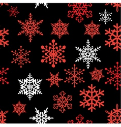 Snowflakes pattern black red vector