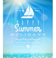 Summer holiday lettering emblem with yacht vector image vector image