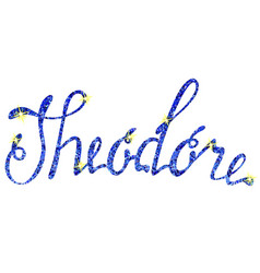 Theodore name lettering tinsels vector