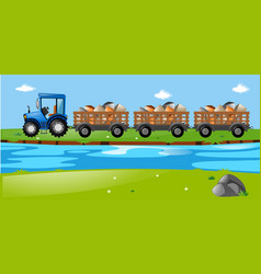 Tractor and wagons loaded with stones vector