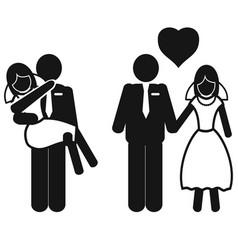 wedding couple icons vector image vector image