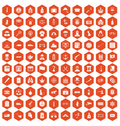 100 offence icons hexagon orange vector