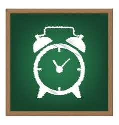 Alarm clock sign white chalk effect on green vector