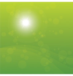 Bright sun burst green background vector