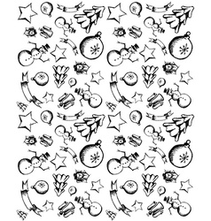 Hand draw Christmas icons seamless pattern vector image
