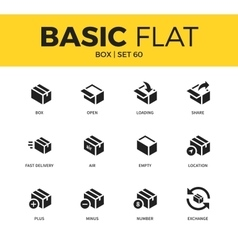 Basic set of box icons vector