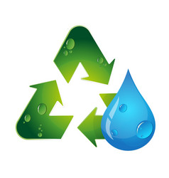 symbol of recycling and water drop vector image