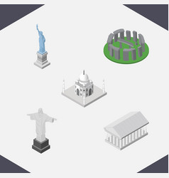 Isometric travel set of rio india mosque athens vector