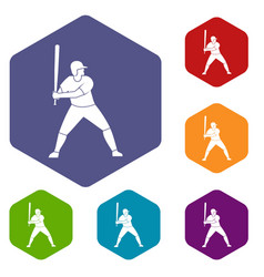 Baseball player with bat icons set hexagon vector