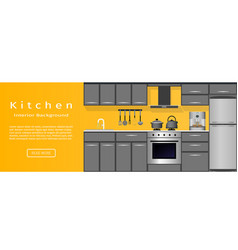 Modern kitchen room interior banner for your web vector