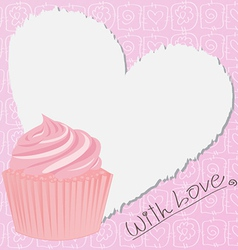 Pink lovely cupcake vector