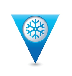 Snowflake icon on blue triangular map pointer vector