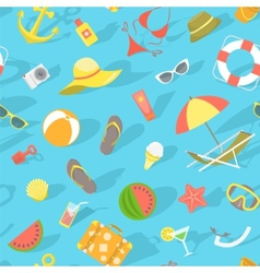 Summer beach essentials seamless pattern vector