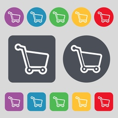 Shopping cart icon sign a set of 12 colored vector