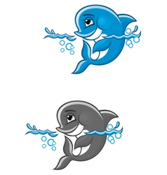 Beautiful blue dolphin in water for nature or chil vector