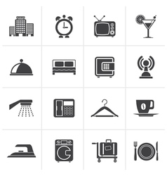Black hotel motel and travel icons vector