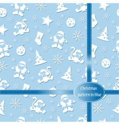 Pattern merry christmas in blue colors vector