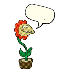 Cartoon monster plant with speech bubble vector