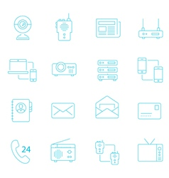 Thin lines icon set - communication devices vector