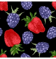 Pattern with strawberries and blackberries vector