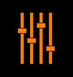 Adjustment music line sign orange icon on black vector