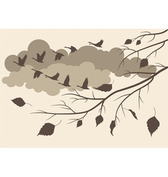 autumn birds fly south vector image