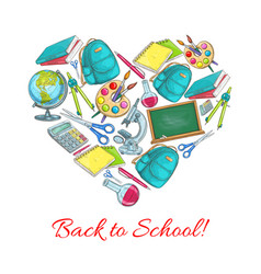 Back to school heart poster vector