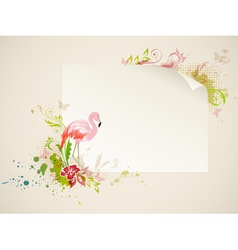 banner with pink flamingo and flowers vector image vector image