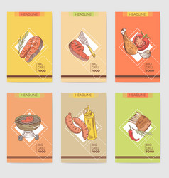 Barbecue and grill hand drawn cards brochure menu vector