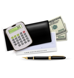 black checkbook with pen and dollars vector image