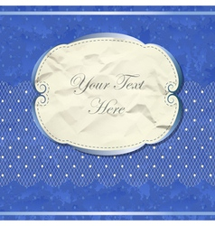 Blue vintage banner with lace vector image
