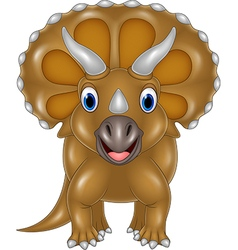 Cartoon Triceratops isolated on white background vector image vector image